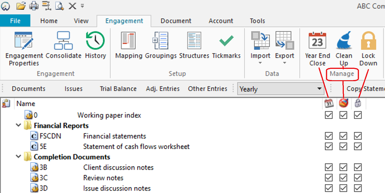 Document Manager with year end close columns enabled