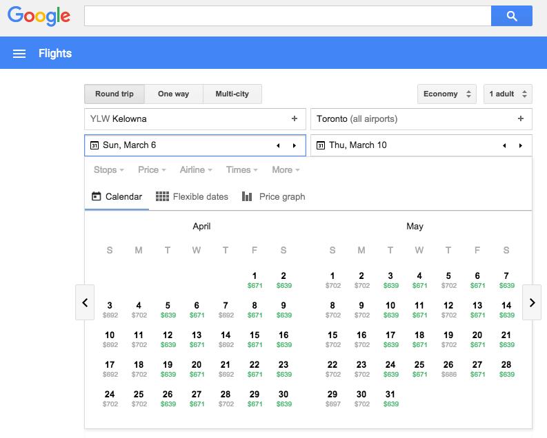 Google Flights shows best price on each date