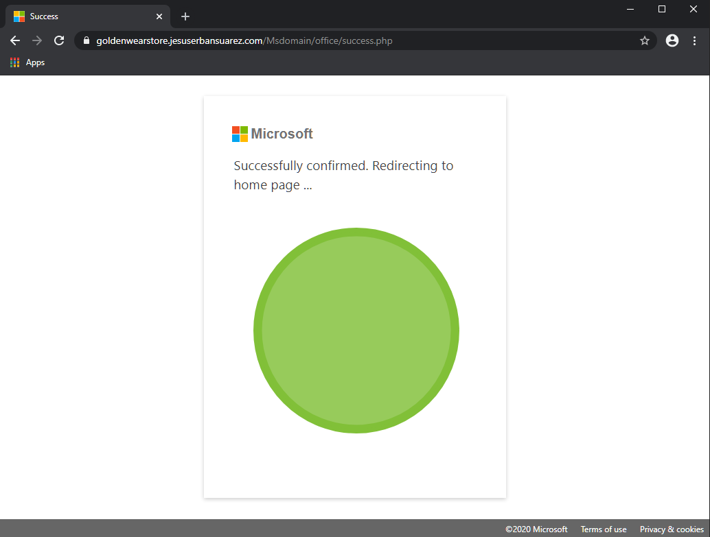 Fake Microsoft web page referring to correct page