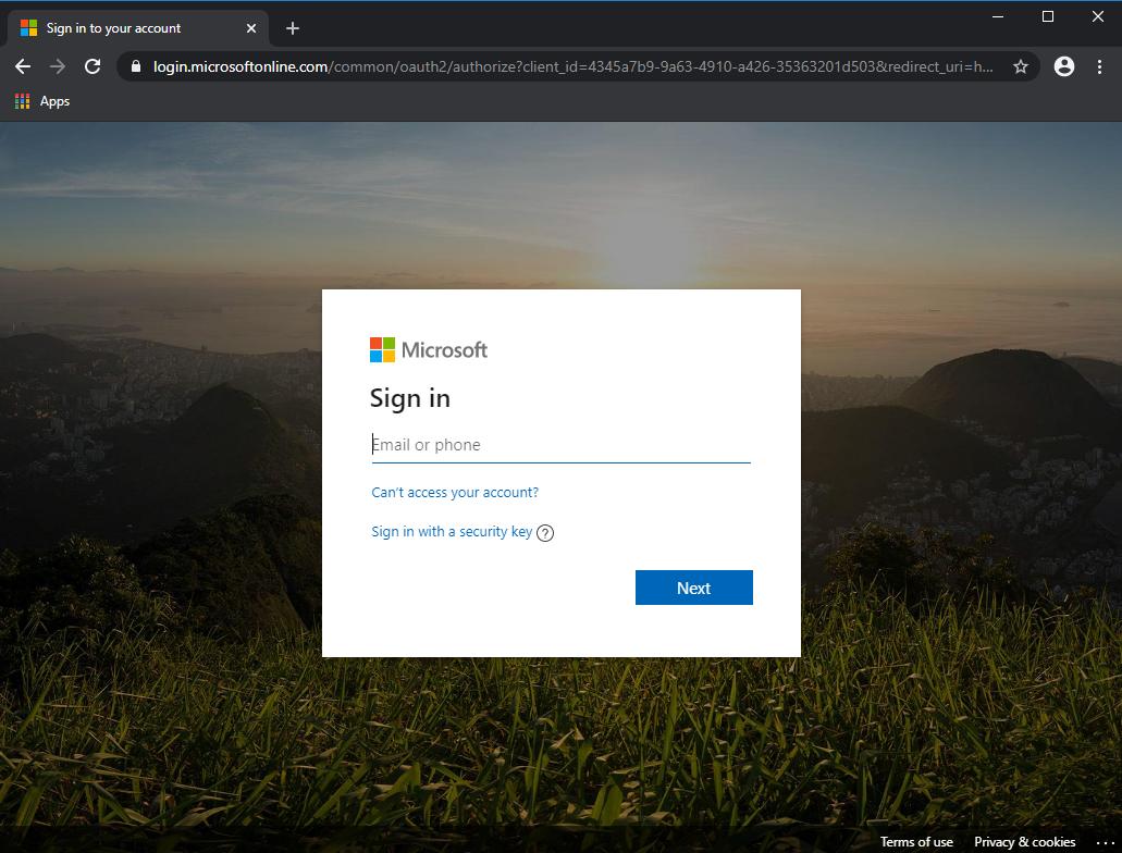 Legitimate Microsoft login screen